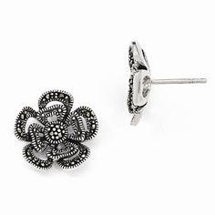 Sterling Silver Marcasite Flower Post Earrings