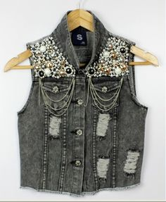 Punk Denim Studded Rhinestones Embellishment Sequins Tank Vest Jacket/Waistcoat | eBay