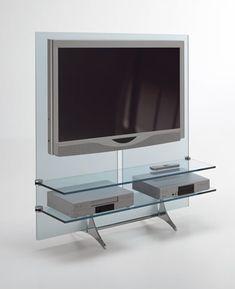 Rack para TV em vidro por Tonelli Design - Linha Curtain Wall TV