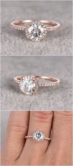 Certified Round Diamond Halo 2 Tone Engagement Ring White Gold 24 Rose Gold Engagement Rings That Will Make You Blush Wedding Rings halo wedding rings Bling Bling, Ring Rosegold, Bijoux Or Rose, Rose Gold Engagement Ring, Oval Engagement, Simple Elegant Engagement Rings, Elegant Wedding Rings, Wedding Engagement, Diamond Engagement Rings