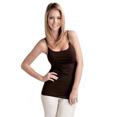 24a7ad5fd609a Plain Long Spaghetti Strap Tank Top Camis Basic Camisole Cotton Plus Size  White) Scoop neckline