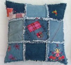 A pair of 18 x 18 cushions, covered in matching, removable denim patchwork covers.    The rag quilted covers are machine washable and tumbledrying enhances the fraying.