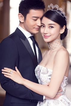 Angela Yeong (Angelababy) wwith fiance Huang Xiaoming wearing the Chaumet Curls . - Angela Yeong (Angelababy) wwith fiance Huang Xiaoming wearing the Chaumet Curls Tiara in platinum f - Pre Wedding Photoshoot, Wedding Poses, Wedding Shoot, Wedding Couples, Wedding Portraits, Wedding Bride, Wedding Dresses, Angelababy Wedding, Wedding Beauty