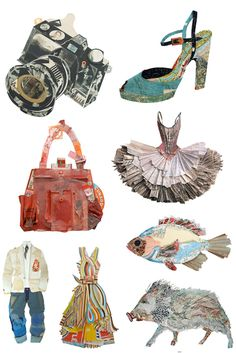 Peter Clark - paper and textiles collages