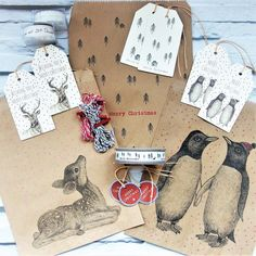 Oooo so pretty East of India Gift wrap ideas that will ensure your gifts stand out from the crowd 6 large gift tags - Penguins Deer tree Christmas Gift Sets, Christmas Ribbon, Christmas Wrapping, Merry Christmas, Gift Wrap Box, Tree Graphic, Paper Tape, Brown Paper, Grey And White
