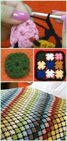 Crochet Mini Square Blanket Free Pattern - Crochet Rainbow Blanket Free Patterns