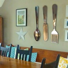 Knife Fork and Spoon Wall Decor Wooden Kitchen Decor Large ...