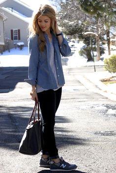 PolishedandPink. Chambray shirt, gray tshort, black jeans