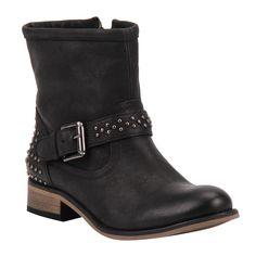 Bota Cano Curto Preto de Couro com Mini Tachas - Shoestock