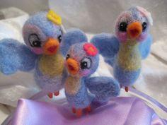 needle felted bluebirds #crafts #felt #bluebird #Lefton #etsy #gift http://www.etsy.com/shop/ponylover31                  #crafts #dolls #art #miniatures