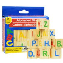 Bulk Alphabet Wood Blocks, 9-pc. Sets at DollarTree.com Buy 2-3 of sets and glue them together to make tiered storage for toiletries. What's the area surface of one of these blocks?