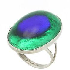 vintage peacock eye glass ring