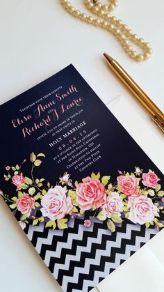 Floral and chevron modern wedding invitation set See more here: http://designedwithamore.com/product/wedding-invitations-allentownblue-deposit/
