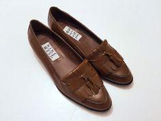 Nine West Brown Leather Loafers with Kilt & Tassle  Doriss Size 7.5M Brazil NEW #NineWest #LoafersMoccasins