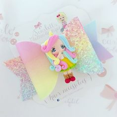 Image of Rainbow unicorn girl Polymer Clay Cupcake, Cute Polymer Clay, Bow Hairband, Bow Hair Clips, Handmade Hair Bows, Diy Hair Bows, Clay Projects, Clay Crafts, Diy Leather Bows