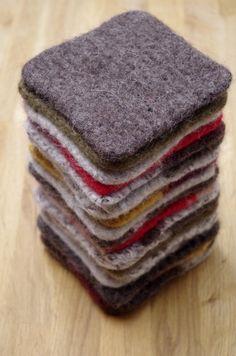 Kitchen Scrubbies: Set of 2 Non-Abrasive Handknit & Felted