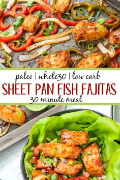 Sheet pan Paleo meals are my favorite weeknight dinners. This sheet pan . - Sheet pan Paleo meals are my favorite weeknight dinners. This sheet pan fish fajitas recipe - Whole30 Fish Recipes, Seafood Recipes, Paleo Recipes, Quick Recipes, Quick Paleo Meals, Paleo Whole 30, Whole 30 Recipes, Pan Paleo, Dinner Ideas