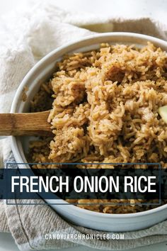 French Onion Rice is an easy recipe combining basmati rice with beef bouillon and onion soup mix. It's the perfect side to roasted chicken or just go ahead and eat it by itself, it's that good. White Rice Recipes, Rice Recipes For Dinner, Basmati Rice Recipes, Jasmine Rice Recipes, Rice Side Dishes, Food Dishes, White Rice Dishes, Best Rice Recipe, Risotto