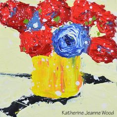 Cottage Chic Floral Painting Acrylic Impasto Still Life Painting Red Flowers 4x4 Mini Painting Home Office Yellow Wall Decor No 163 - pinned by pin4etsy.com