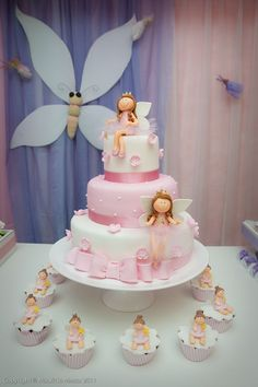 Hadas. TORTAS Bolo Laura, Torta Angel, First Communion Cakes, Ballerina Cakes, Fairy Cakes, Cute Cakes, Fondant Cakes, Celebration Cakes, Shower Cakes