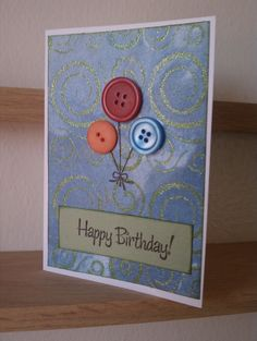 Cute birthday card idea.  I have a million buttons to use.