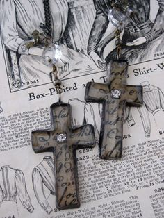 Free Form Metal Forged Cross Necklace by rochellemybelle on Etsy, $90.00