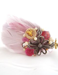 Feather headband Pretty In Pink Wonderland headband By Sheena holland