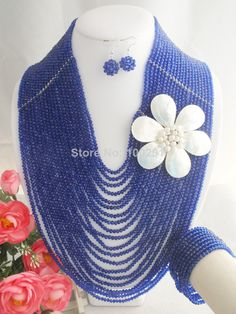 Free Shipping !!!W-975 Fashion Amazing African Crystal beads jewelry set For Wedding Or Party $115.34