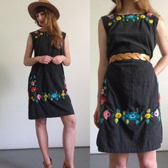 Vtg 70's Mexican Dress EMBROIDERED Tunic Tent Dress Floral Square Neck Ethnic Embroidery Black Cotton HIPPIE BOHO Dress Festival Open Size