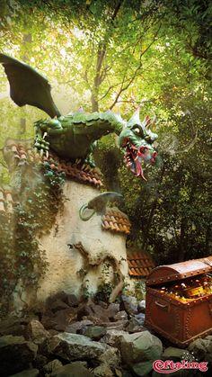 Efteling wallpaper van de draak uit het Sprookjesbos.