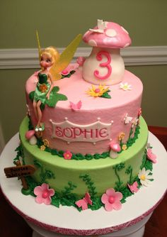 Tinkerbell fairy cake. sooo cute. I love that little mushroom