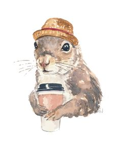 Original Squirrel Watercolor Painting - Coffee Squirrel, Pork Pie Hat, 8x10 Illustration
