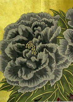 Japanese Woodblock Botanical Prints by Yousaku Sekino - Black Peony Vintage Botanical Prints, Botanical Drawings, Botanical Art, Japanese Drawings, Traditional Japanese Tattoos, Collage Background, Japanese Flowers, Nature Illustration, Japanese Painting