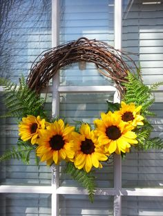 Summer Grapevine Wreath, Spring Wreath- Check this out Bobbie - But I would add a bow.