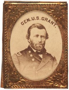 (c. 1864) Civil War Era, photograph of U. S. Grant housed in ornate, gem sized brass frame (1 in. X 3/4 in.).