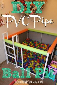 DIY ball pit made from PVC pipes, cable ties, cargo netting, and pool noodles! 15$ per 125 balls, needed 2500 balls