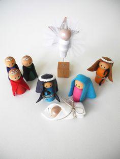 Christmas Decoration, Peg People NATIVITY Set, Children Nativity Set, Wooden Nativity, Eco Friendly Christmas Decoration. $21.50, via Etsy.
