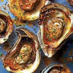 Grilled Oysters : SPICY GRILLED OYSTER [myrecipes] The secret to this dish, a chargrilled homage to Gulf oyster houses, is a knockout garlic-herb butter. Steamed Oysters, Bbq Oysters, Smoked Oysters, Grilled Oysters, Grilled Seafood, Fish And Seafood, Shellfish Recipes, Seafood Recipes, Sushi Recipes
