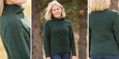 Женский свитер спицами, вязаный сверху из шерсти с альпакой. Свитер с высокой горловиной и полосами платочной глади. Knitting Needles, Hand Knitting, Knitting Patterns, Knit Fashion, Womens Fashion, Knit Dress, Knitwear, Knit Crochet, Turtle Neck