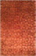 Kinetic Collection Contemporary Rust Orange Basket Weave Wool Solid Area Rug