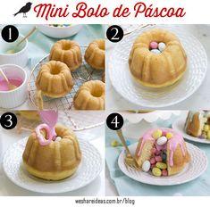 Veja como preparar um mini bolo recheado com ovinhos de chocolate para a páscoa.