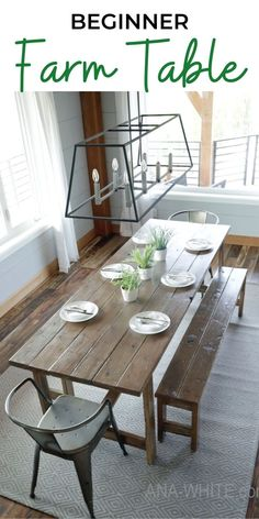 The easiest rustic dining table that you can build! Perfect beginner farm table plans by ana-white.com. #anawhite #anawhiteplans #diy #diyfurniture #farmhousetable #farmhouse #homedecor Harvey Furniture, Diy Furniture Plans, Farmhouse Furniture, Farmhouse Table, Dining Room Furniture, Wood Furniture, Farm Table Plans, Easy Wood Projects, Beautiful Dining Rooms