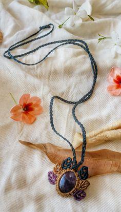 macrame necklace, green, beige, purple, ametyst gemstone, tribal necklace, boho necklace, macrame handmade, macrame jewelry, micro macrame by NarkisMacrame on Etsy