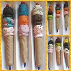 Polymer clay ice cream cone pens - kids art class