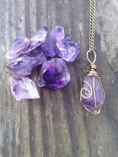 Raw Amethyst necklace pendant boho necklace by dieselboutique