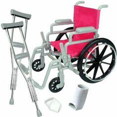 "Doll Wheelchair Set for 18"" Dolls Like American Girl Dolls, Doll Chair Set includes Doll Wheelchair, Doll Crutches & Bandage, 18"" Doll Furniture"