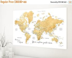 Floral world map vintage gold foil print vintage gold effect print custom quote world map canvas print gold foil by blursbyaishop gumiabroncs