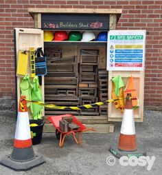The builders shed is perfect for storing blocks, building materials and loose parts for construction projects. Eyfs Outdoor Area, Outdoor Play Areas, Outdoor Games, Outdoor Classroom, Outdoor School, Eyfs Classroom, Classroom Displays, School Classroom, Cosy Direct
