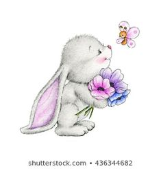 Bunny with Flower and Butterfly Nursery Art Print Children Wall Decor Kids Wall Art Baby Room Wall Art Animal Illustration Children Art Baby Room Wall Art, Art Wall Kids, Nursery Art, Art Kids, Bunny Nursery, Bunny Drawing, Bunny Art, Drawing Flowers, Animal Drawings