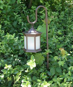 Frosted Glass Solar Lantern & Shepherd's Hook Set by Starlite Garden & Patio Torche #zulily #zulilyfinds